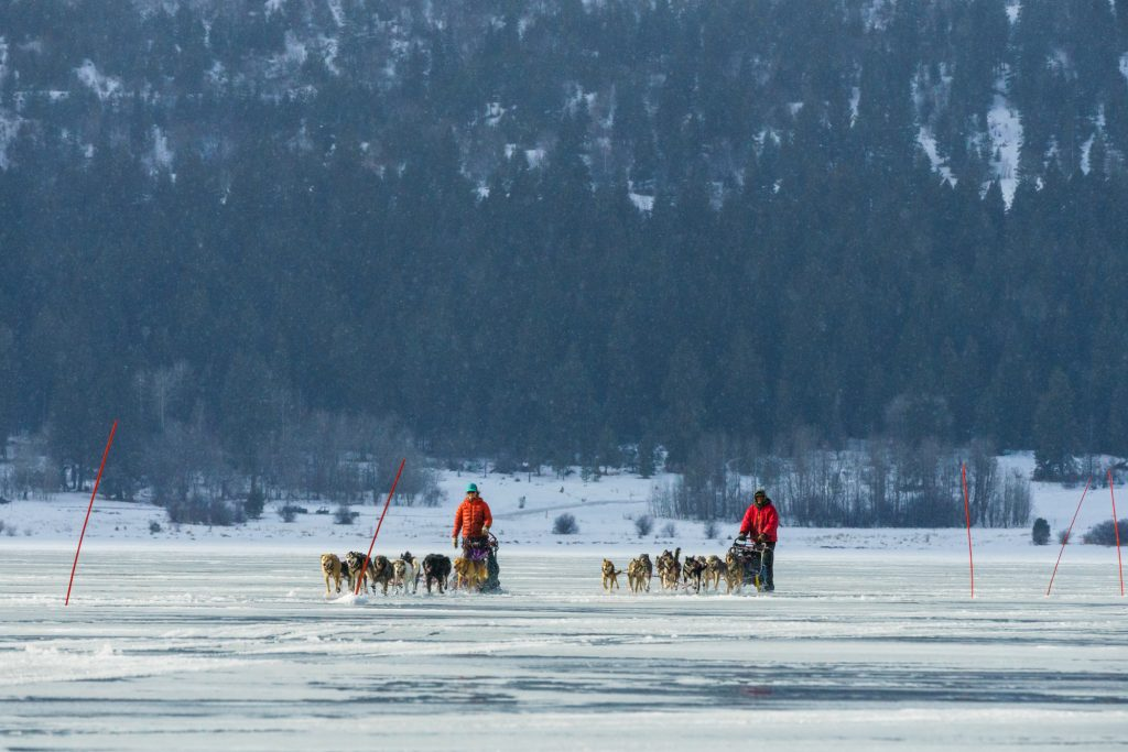 Crossing the lake during the Idaho Sled Dog Challenge in 2018
